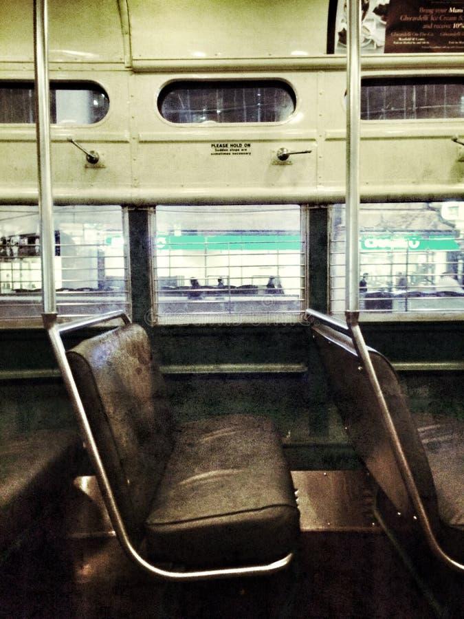 旧金山缆车内部 免版税库存照片