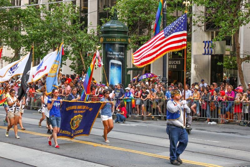 旧金山自豪感美国退伍军人协会游行小组 图库摄影