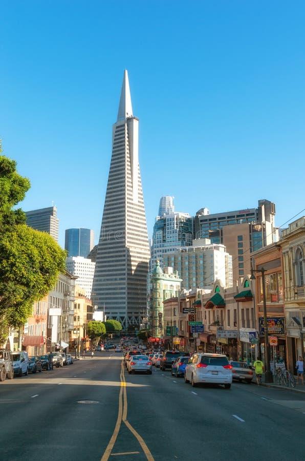 旧金山都市风景和Transamerica金字塔,加利福尼亚,美国 库存照片