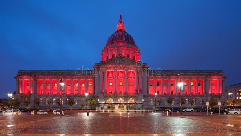 旧金山香港大会堂在晚上 免版税库存图片