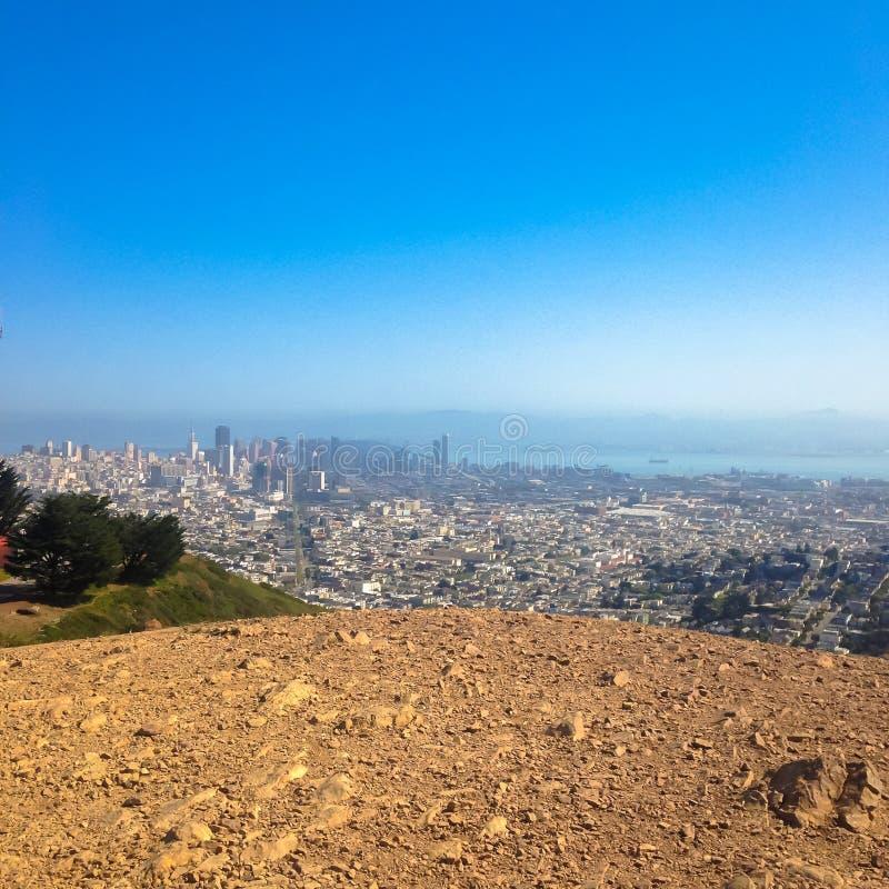 旧金山,加州,从双峰顶的美国,旧金山视图 免版税库存图片