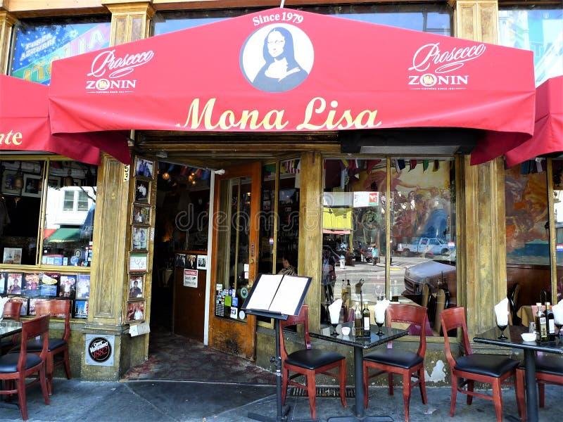 旧金山,在意大利餐厅外面 库存照片