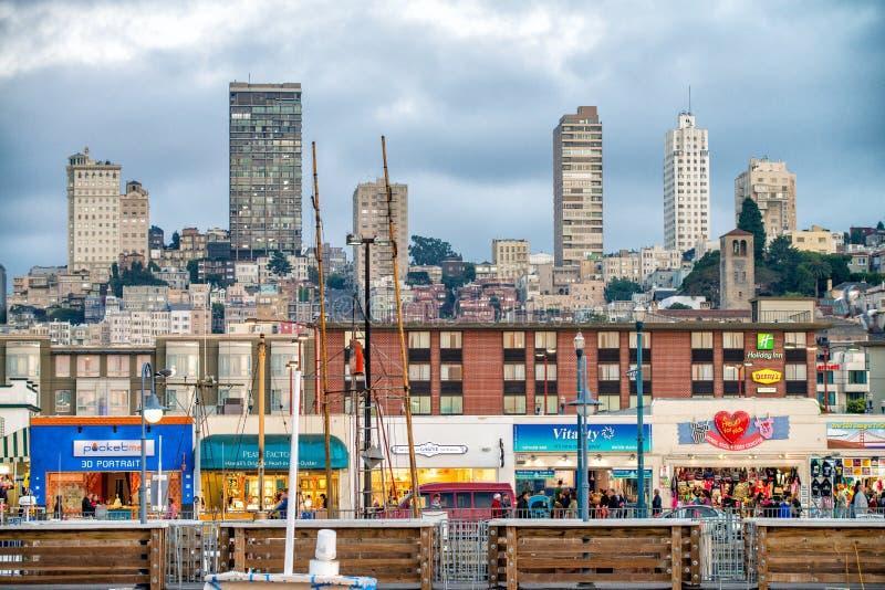 旧金山- 2017年8月6日:街市圣Franci大厦  库存照片