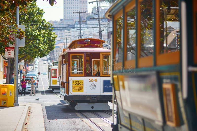 旧金山- 10月17 :著名缆车2015年10月17日在旧金山,美国 免版税库存图片
