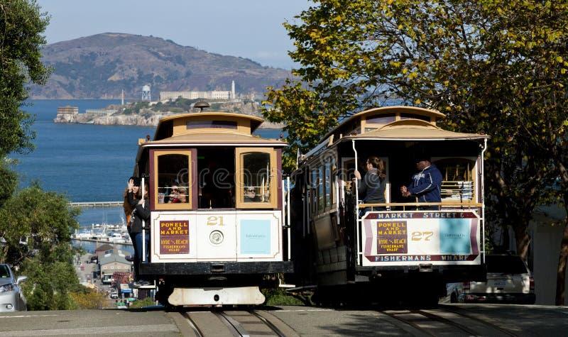 旧金山- 2012年11月: 缆车电车 库存图片