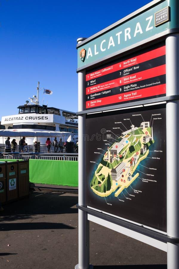 旧金山Alcatraz巡航海岛地图 免版税库存照片
