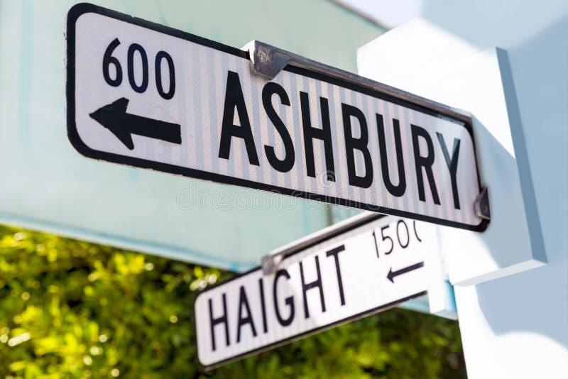 旧金山Haight Ashbury路牌连接点加利福尼亚 库存照片