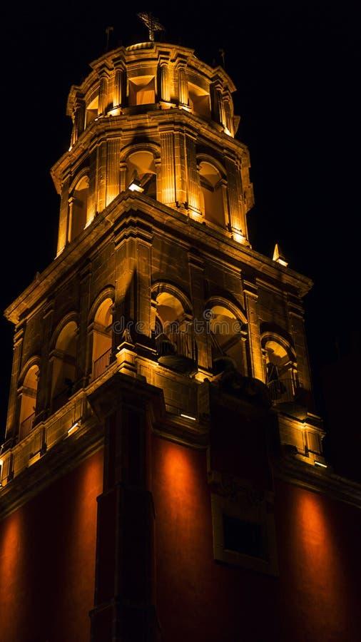 旧金山Querétaro,墨西哥殖民地传统教会寺庙在克雷塔罗墨西哥 免版税库存图片
