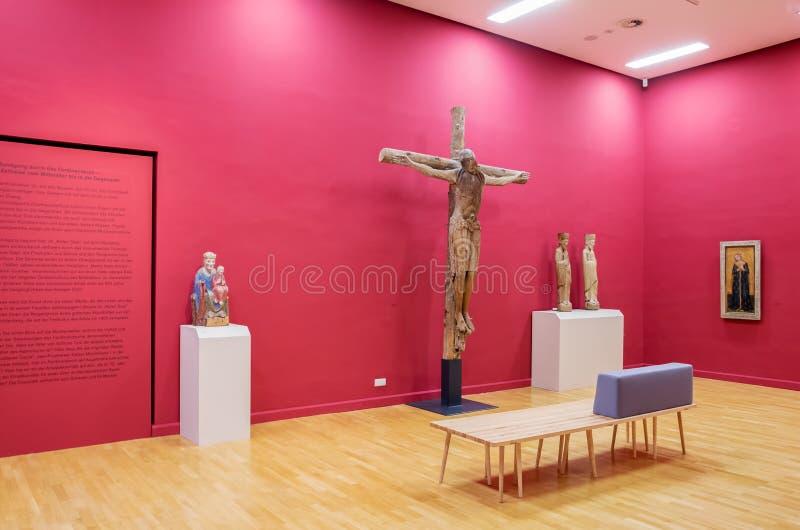 早哥特式艺术的陈列在Landesmuseum,因斯布鲁克,奥地利 图库摄影