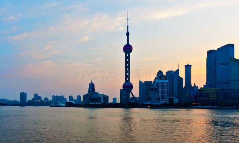 早晨上海地平线 免版税库存照片