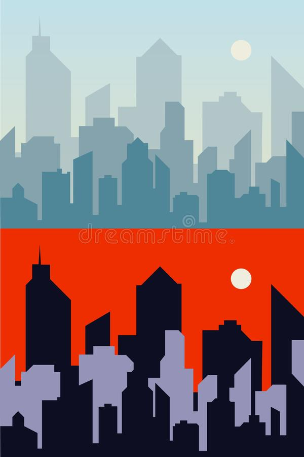 早晨和夜镇背景城市地平线 都市风景平的例证 向量例证