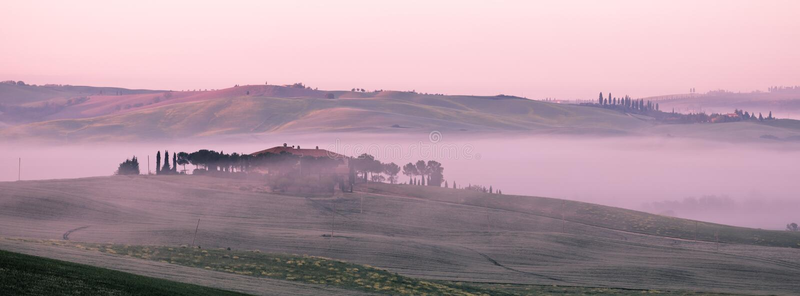 早晨在农舍的雾视图在托斯卡纳,意大利 库存照片