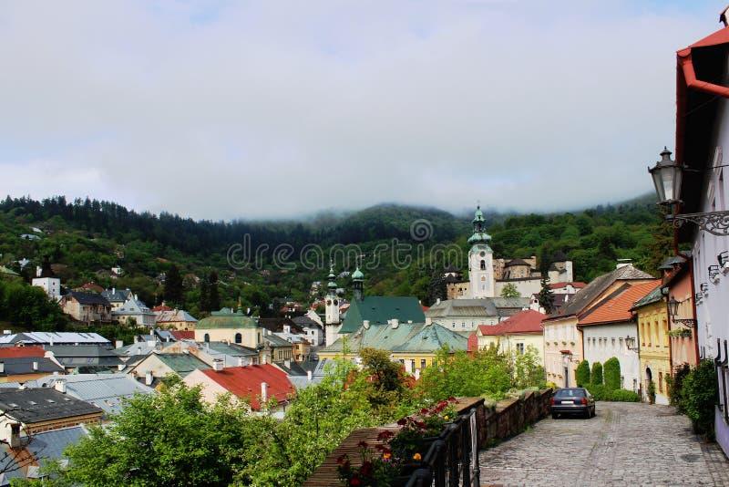 早晨在Banska Stavnica 图库摄影
