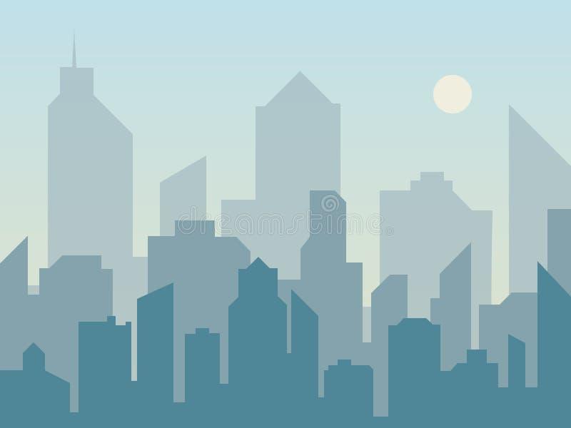早晨城市在平的样式的地平线剪影 横向现代都市 都市风景背景 库存例证