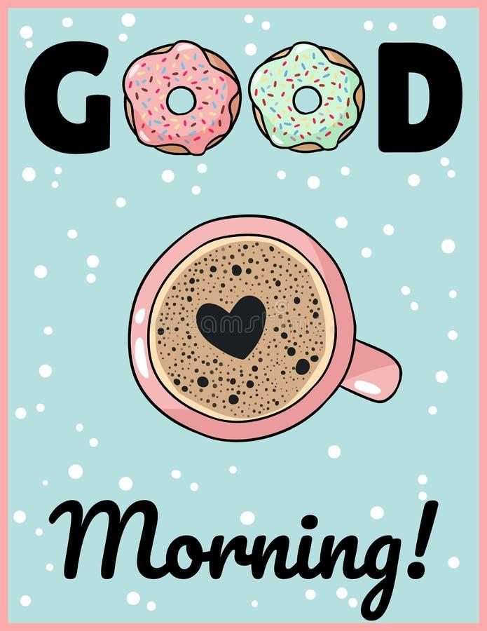 早晨好咖啡与心脏泡沫逗人喜爱的动画片明信片的 手拉的可笑的样式海报 库存例证