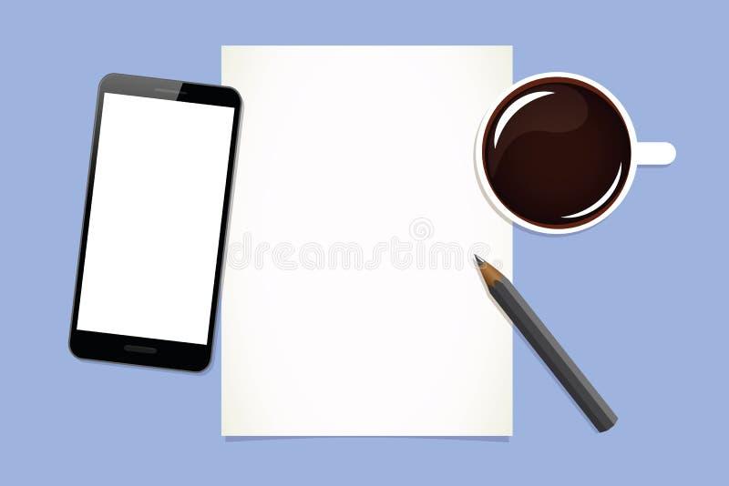 早晨好咖啡手机和笔记 向量例证
