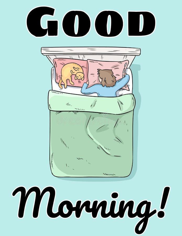 早晨好逗人喜爱的明信片 平安地睡觉在她的床上的女孩 库存例证