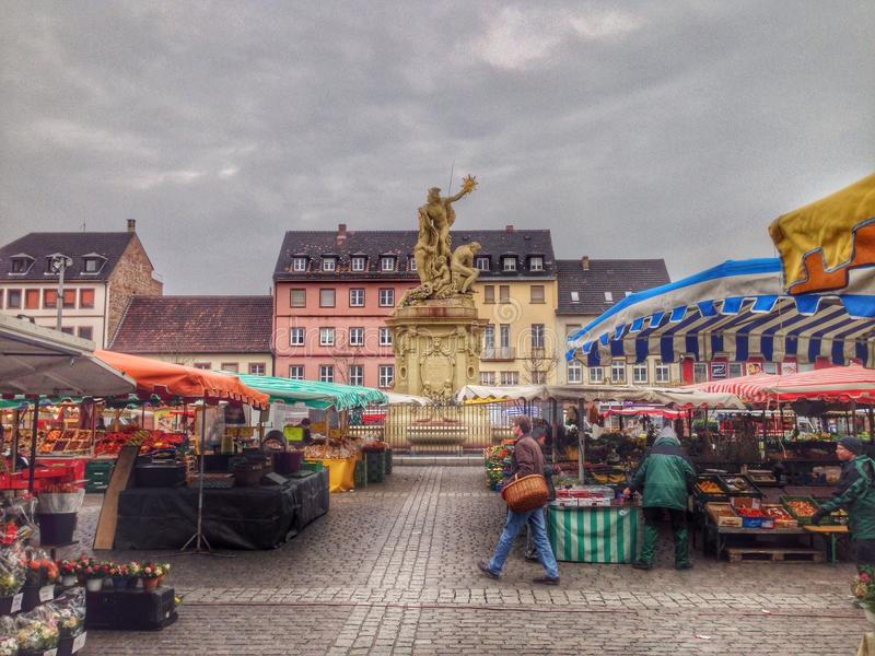 早晨市场在德国 免版税库存照片