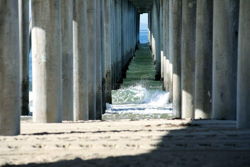 早晨挥动在Hungtington海滩码头下 库存照片