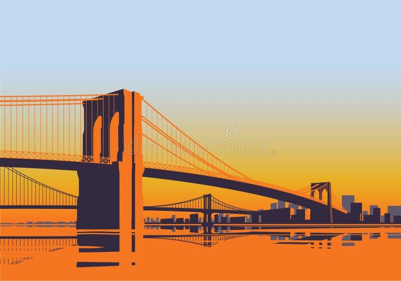 早晨日出的纽约布鲁克林大桥全景 库存例证