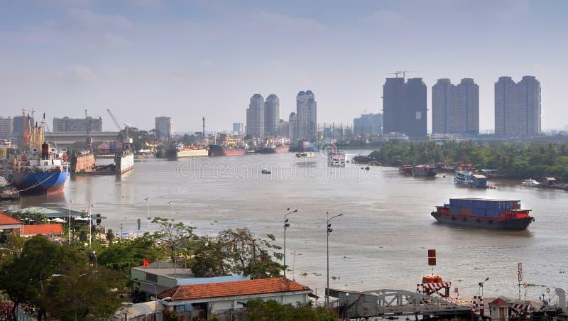早晨河saigon越南 免版税库存照片