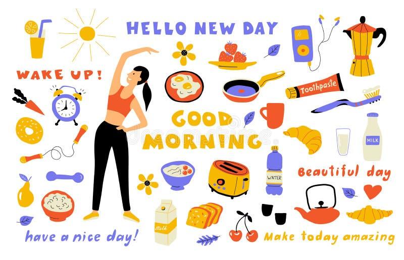 早晨生活方式,逗人喜爱的乱画设置与字法 执行锻炼,早餐的动画片妇女 r 皇族释放例证