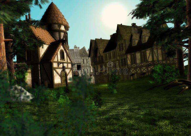 早晨白天日出中世纪镇村庄场面 向量例证