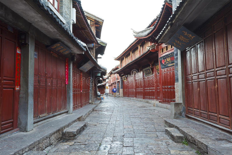 早晨的Lijiang老城镇,中国。 免版税图库摄影