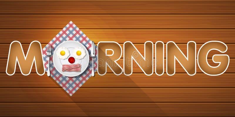 早晨词有早餐顶视图在微笑的面孔的 库存例证