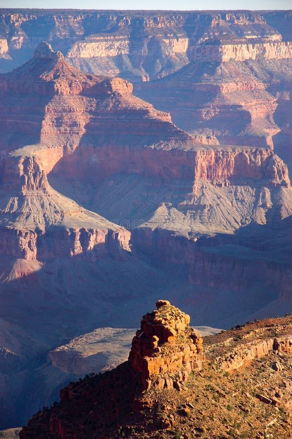 早晨阳光,阴影,岩石峭壁,大峡谷 库存照片