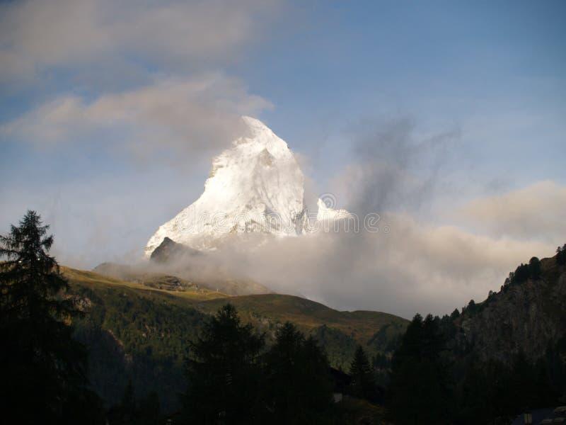 早晨马塔角,冰川天堂,阿尔卑斯 库存照片