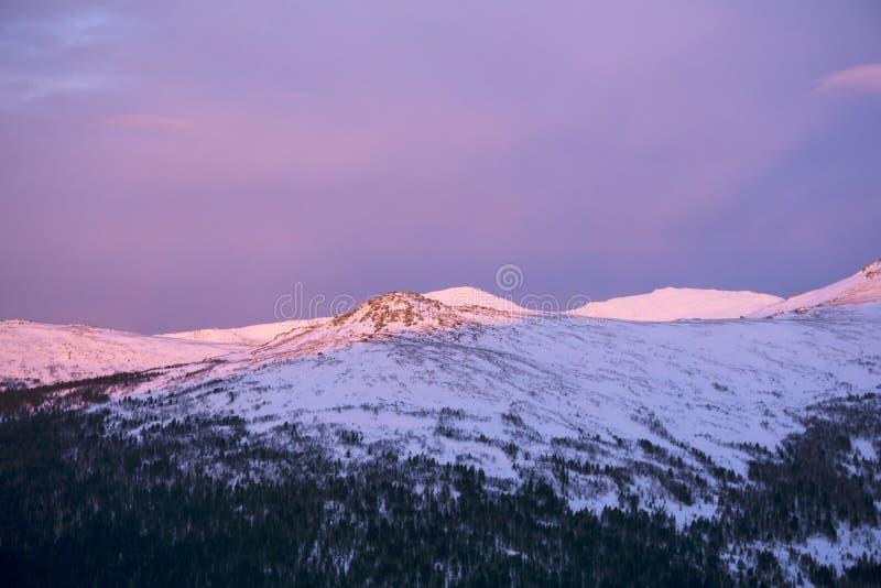 早晨黎明在乌拉尔山 库存照片