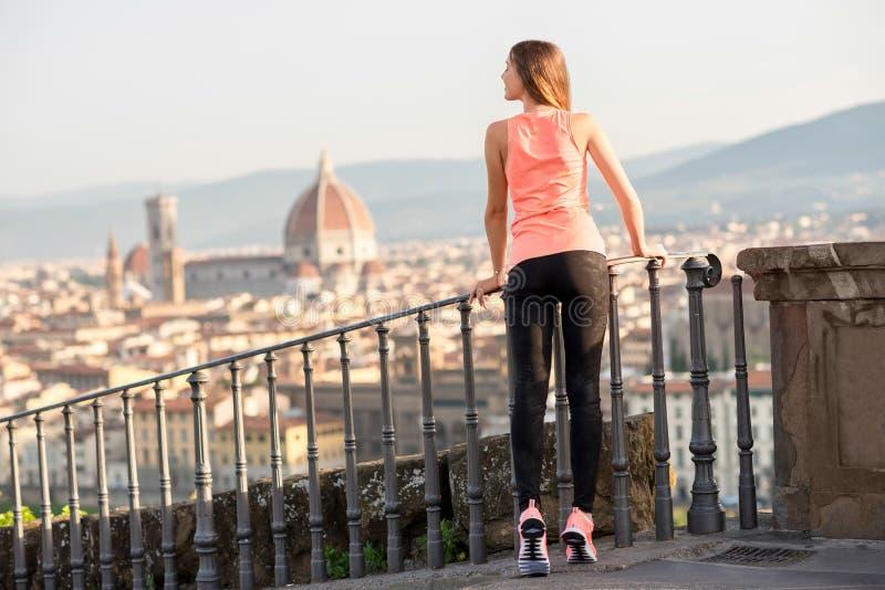 早晨锻炼在佛罗伦萨 免版税库存图片