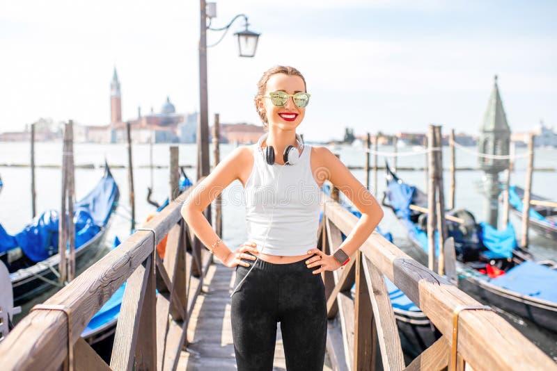 早晨锻炼在威尼斯 免版税库存图片