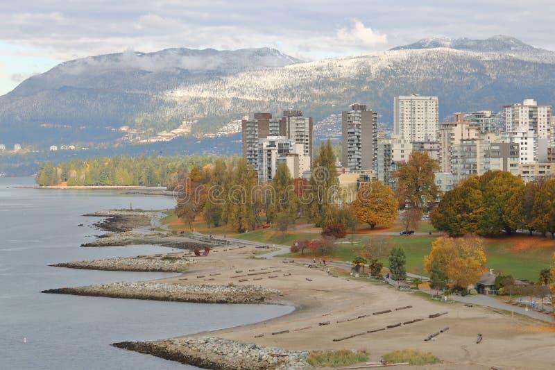 早期的冬天在温哥华,加拿大 免版税库存图片
