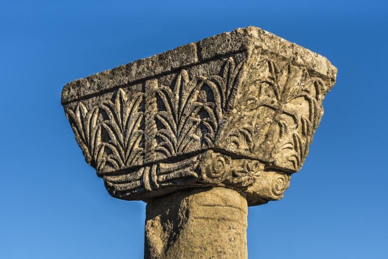 早期的基督徒大教堂复合体柱子细节在古老Byllis废墟的,伊利里亚,阿尔巴尼亚 免版税库存照片