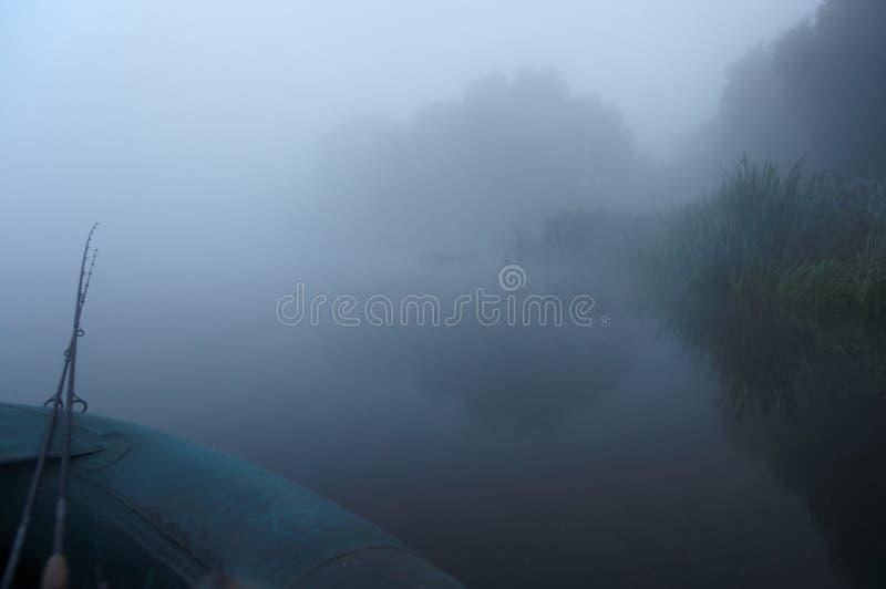 早期的捕鱼雾去的早晨 图库摄影