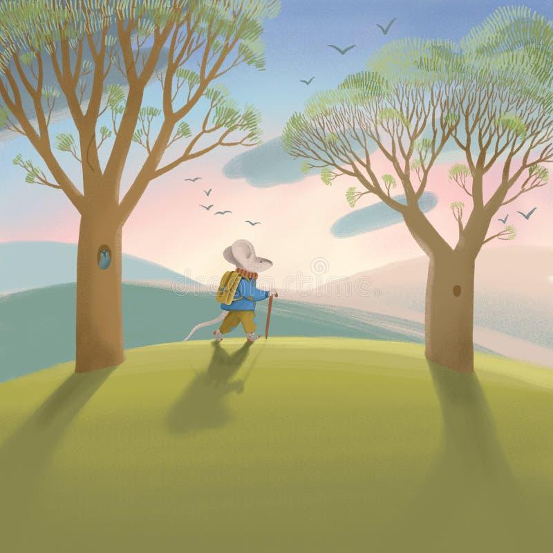 早期的春天晴朗的林木和绿草 绿色横向 皇族释放例证