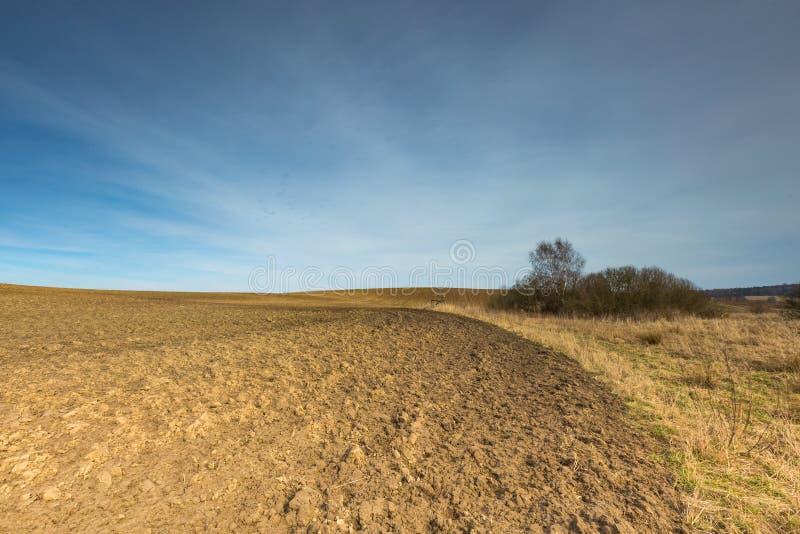 早期的春天犁了领域风景 库存图片