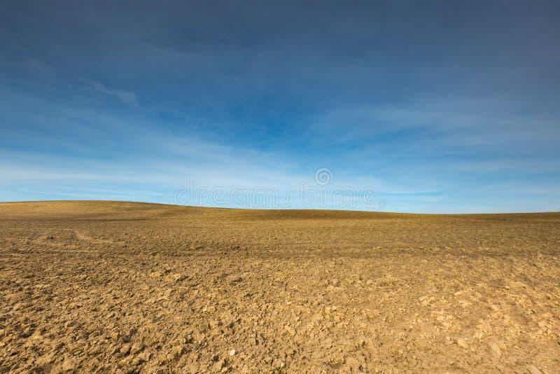 早期的春天犁了领域风景 免版税库存图片