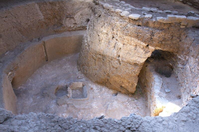 早期的美国坑议院废墟在Mesa Verde国家公园 免版税图库摄影