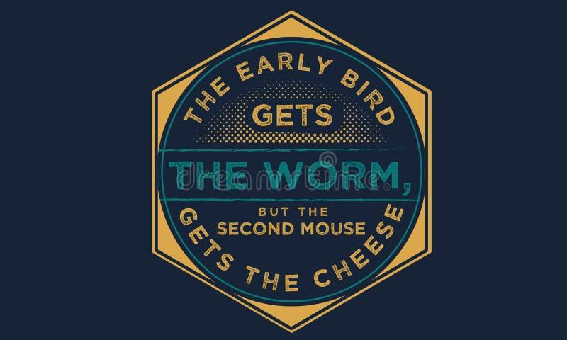 早期的鸟得到蠕虫,但是第二只老鼠得到乳酪 皇族释放例证