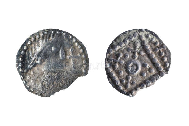 早期的8世纪的英国人的撒克逊人的银色Sceat硬币 免版税库存照片