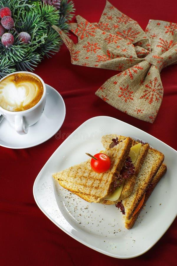 早餐三明治用咖啡 库存图片