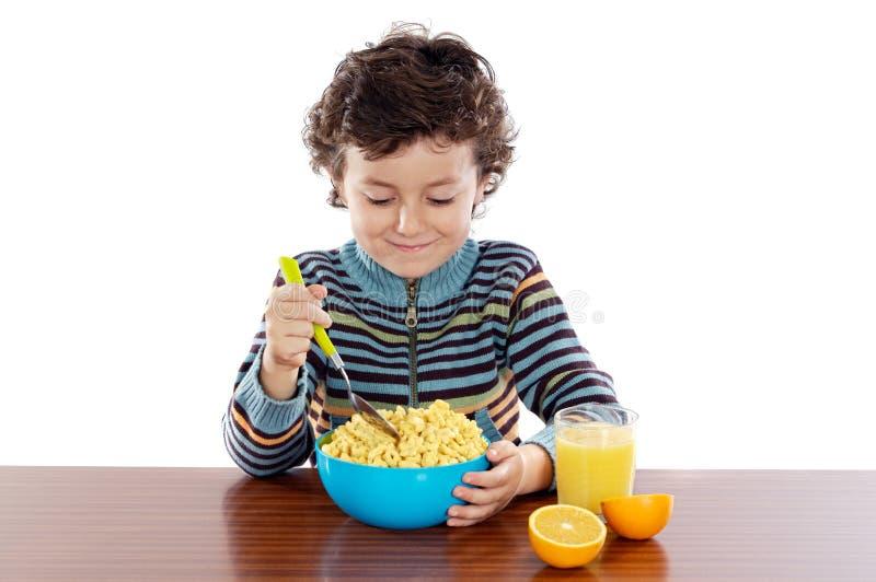 早餐儿童吃 免版税库存照片