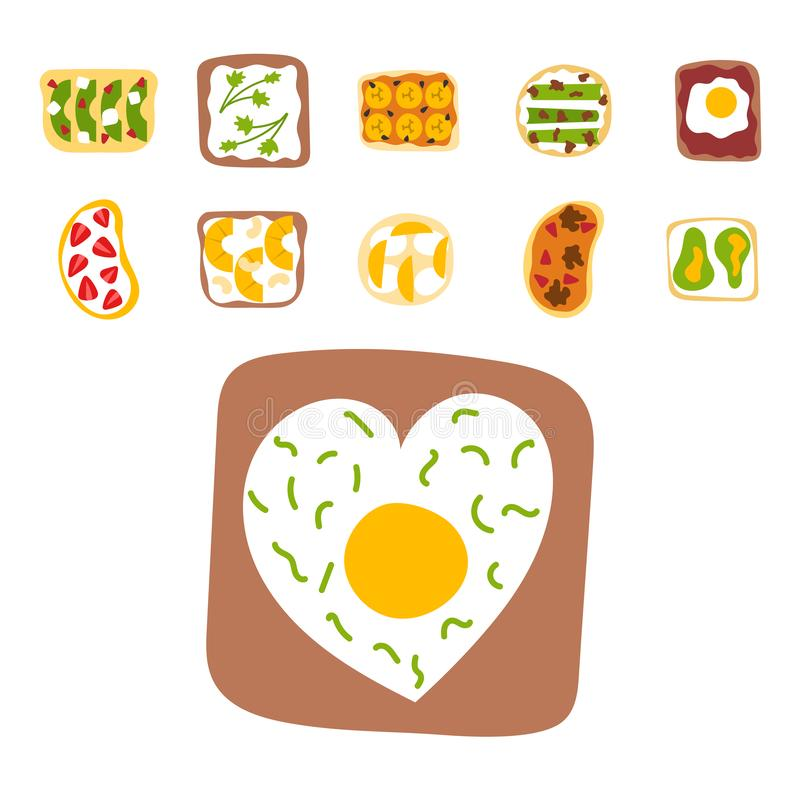 早餐多士集合切与黄油谋生油煎的多士炉平的动画片的样式的敬酒的外壳三明治 皇族释放例证
