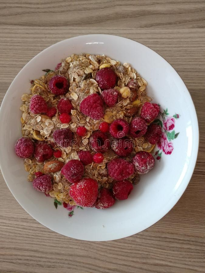 早餐带树莓的Muesli球 库存图片