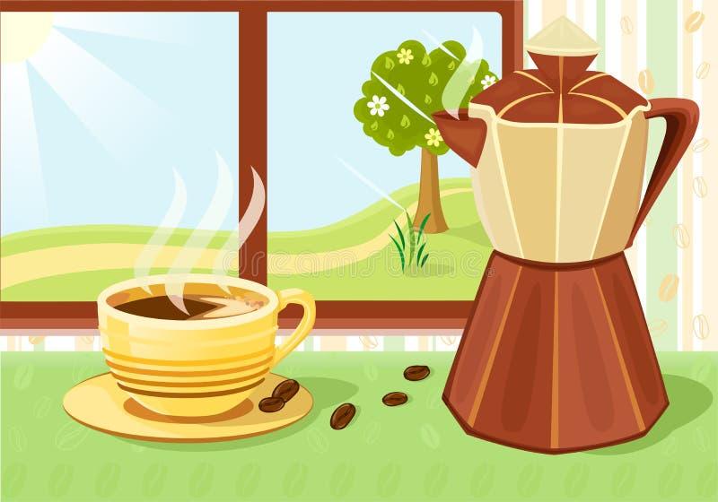 早餐新鲜的咖啡杯 库存例证