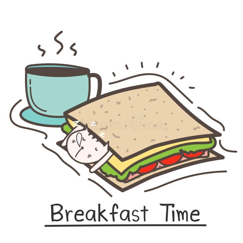 早餐时间用逗人喜爱的猫三明治和咖啡 向量例证