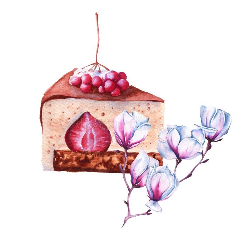 早餐点心用冬天莓果 查出 额嘴装饰飞行例证图象其纸部分燕子水彩 库存例证